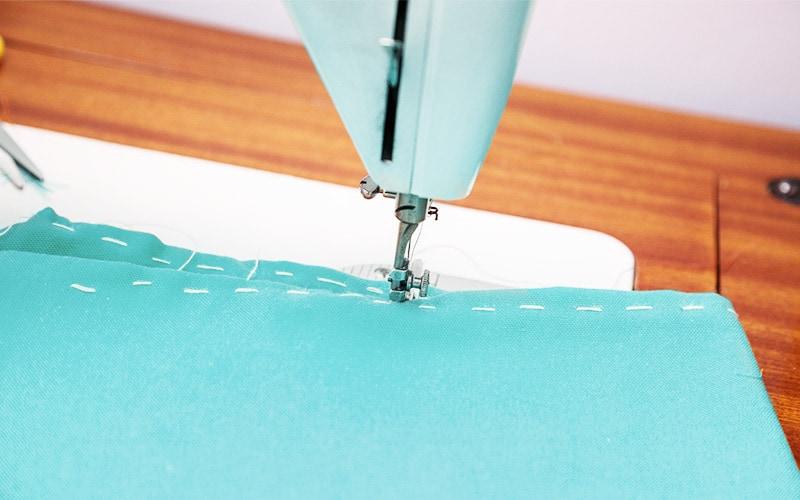 sewing machine on basting stitch