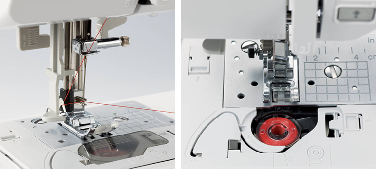 Sewing machine needle threader and bobbin