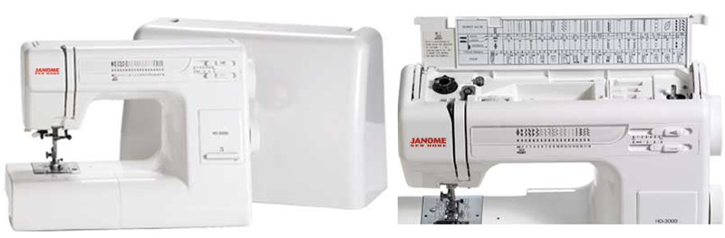 Janome HD3000 sewing machine with a plastic case and stitch reference card collage