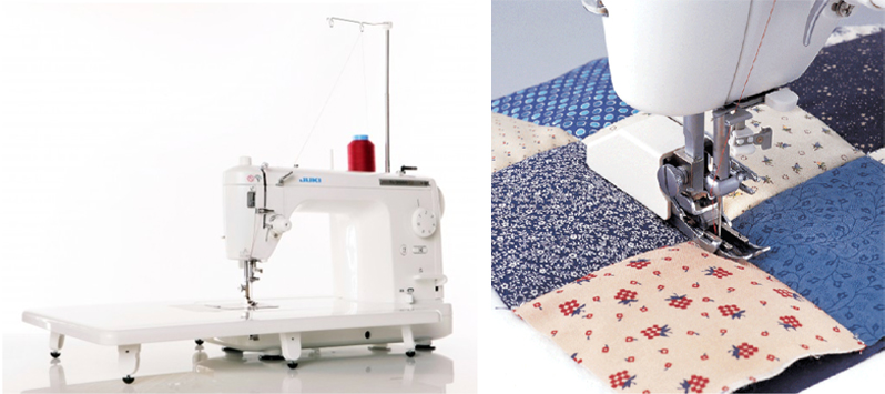 Juki TL 2000Qi extension table and quilting foot collage