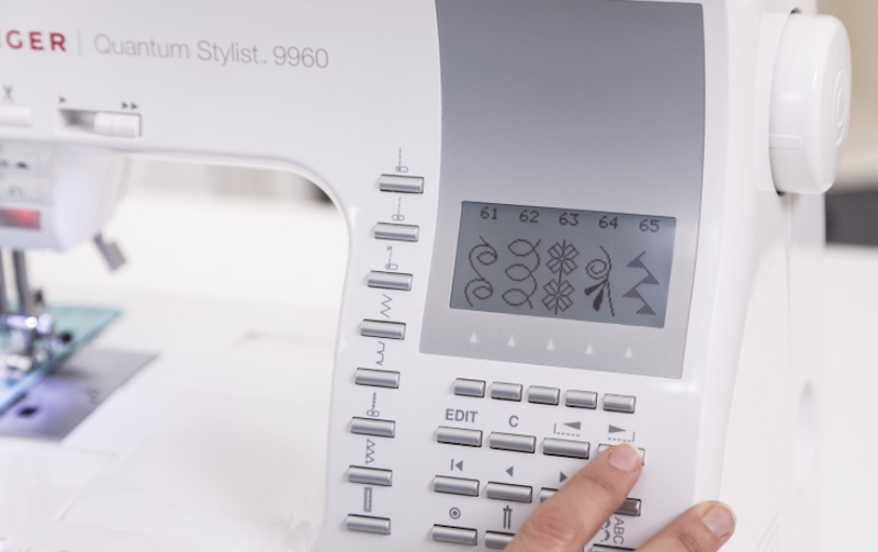 LCD display on a computerized sewing machine