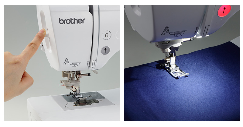 Brother sewing machine needle threader and brightly-lit work area collage