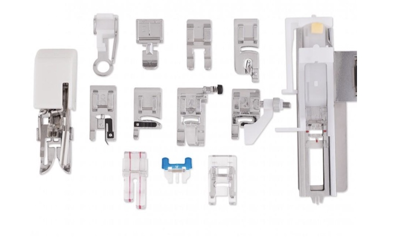 Selection of presser feet on a white background
