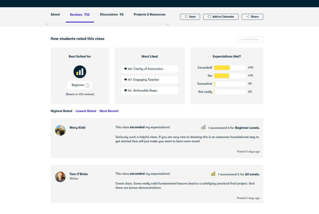 Review section on Skillshare website