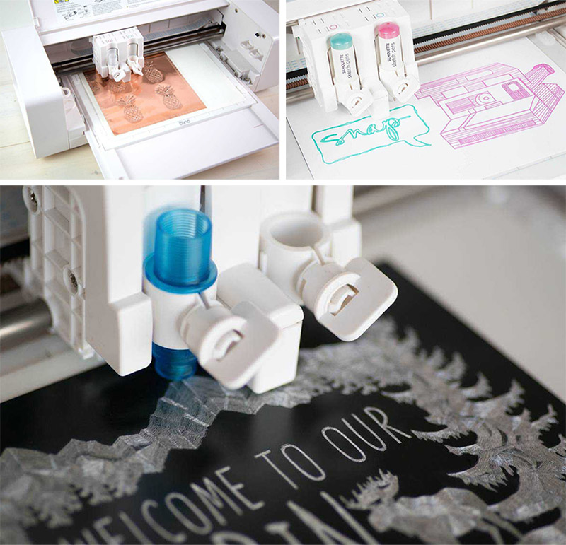 Embossing, sketching and etching on Silhouette Curio