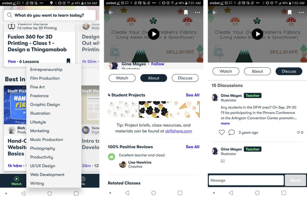 skillshare mobile app interface