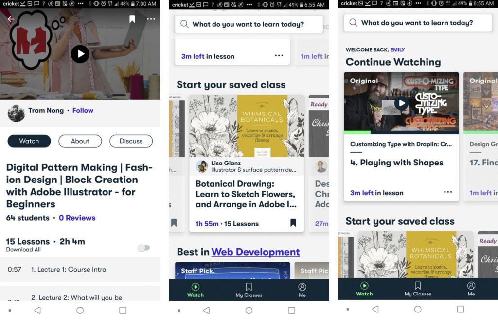 Skillshare application interface