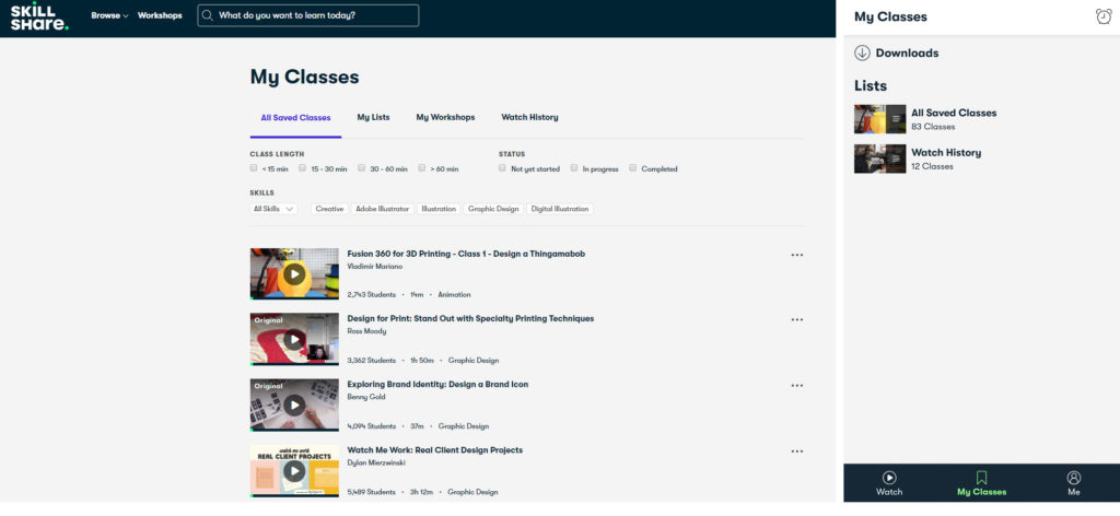 Skillshare saved classes web and mobile interface