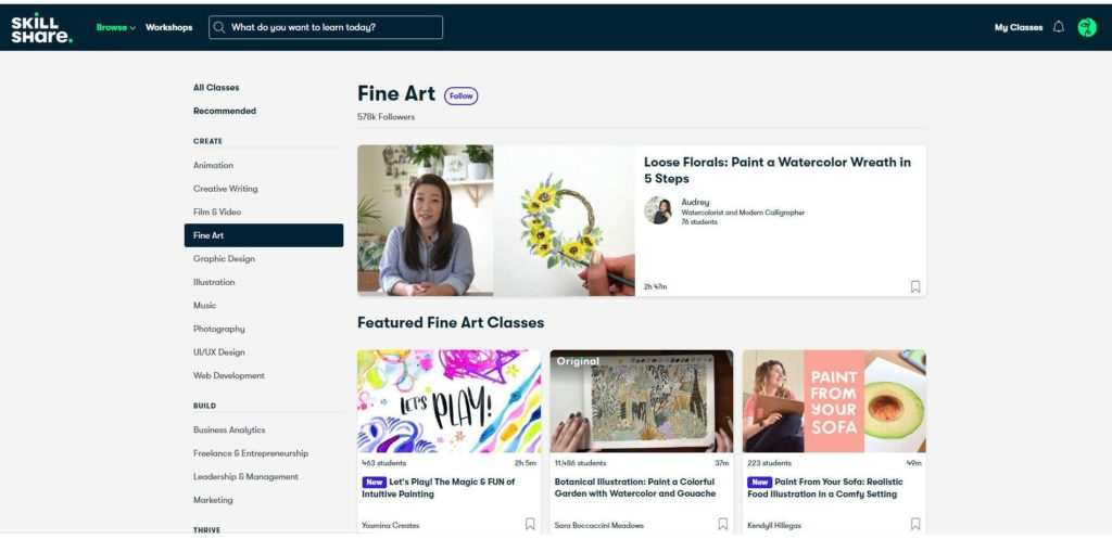 Skillshare web interface