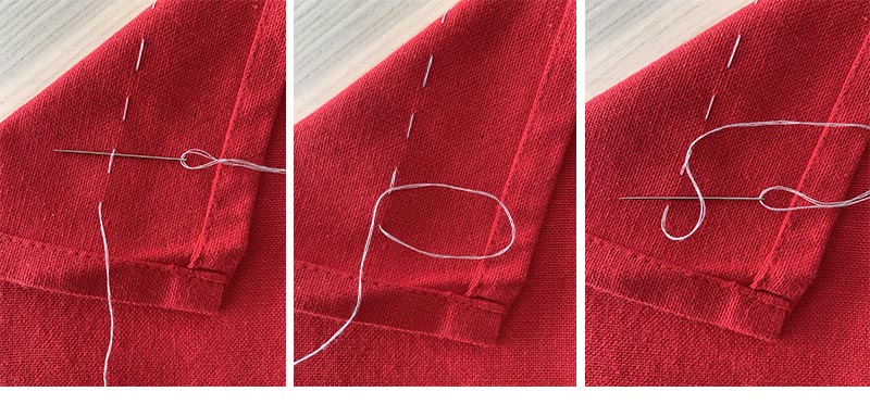 creating a loop with white thread on a red piece of fabric