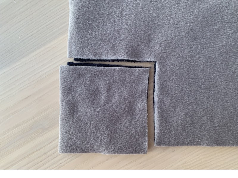 a cut out square from a piece of fleece fabric