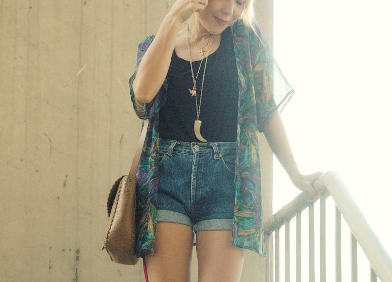 a girl wearing kimono style top