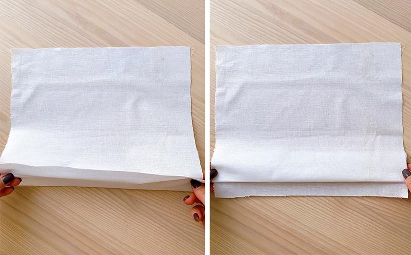 fabric folded along the hemline with fold fabric on top of seam allowance