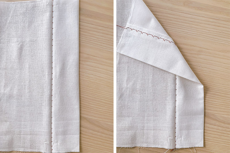 blind hem stitch shown on both sides of the same piece of fabric
