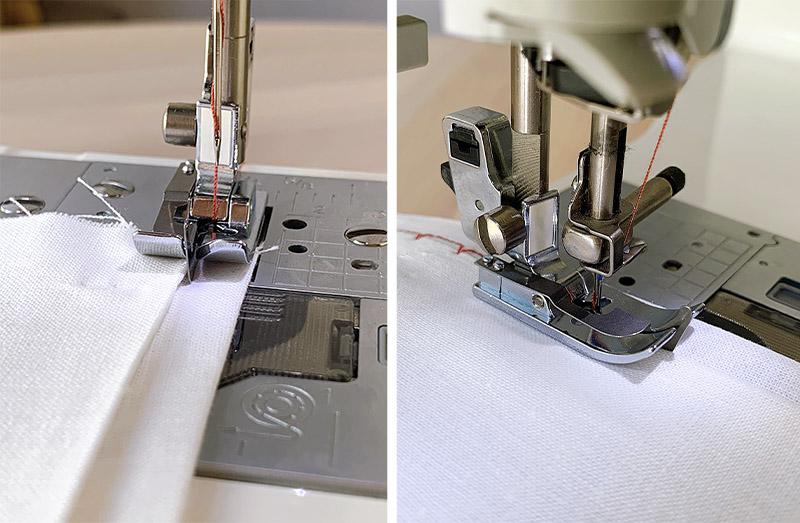 sewing a blind hem stitch on a sewing machine