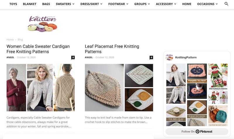 Knitting Pattern blog home page