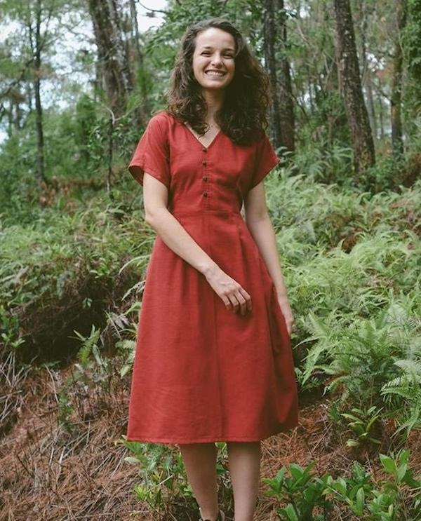 woman wearing a red A-line dress