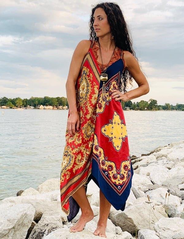 woman wearing a colorful handkerchief dress
