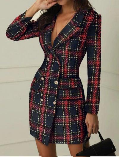 woman wearing a blazer dress