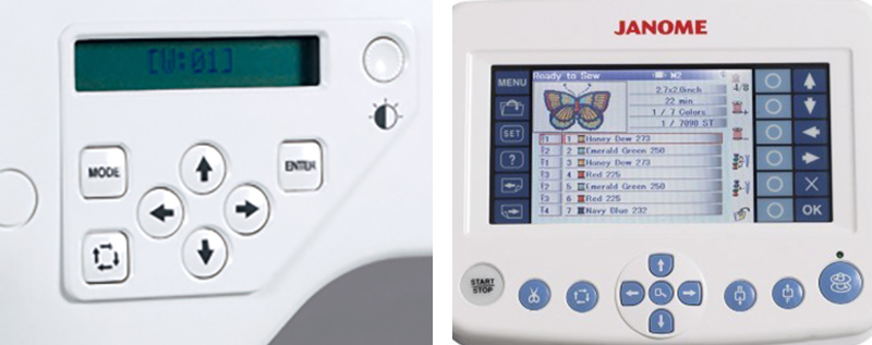janome mb4 control screens