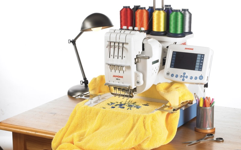 Janome MB4 embroidery machine on a table